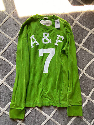 A&F ABERCROMBIE & FITCH Mens XXL Green Long Sleeve Muscle Tee BNWT Distressed