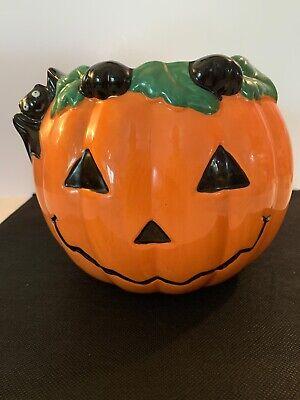 David's Cookies Ceramic Halloween Cookie Jar Pumpkin With Bat. No Lid