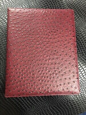 Buxton 8 12x11 New Writing Pad Rich Color Burgundy Ostrich Leather