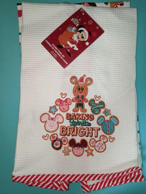 Disney Parks Baking Spirits Bright Christmas 2020 Kitchen Towel Set. New Tags
