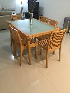 Used Glass Dining table with 6 chairs in perfect working order Botany Botany Bay Area Preview