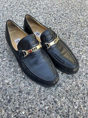 Vintage GUCCI Horsebit Black Italian Leather Loafers Made in Italy