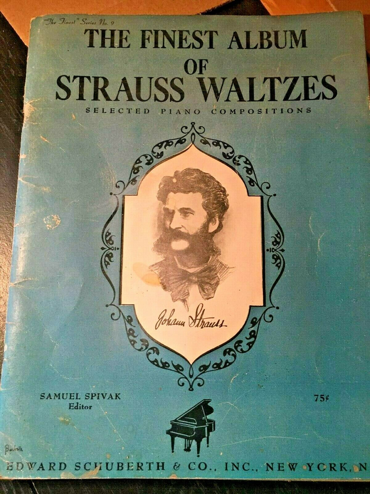 1945 Album Of Waltzes By Johann Strauss For Piano Vintage Music Book - $1.99