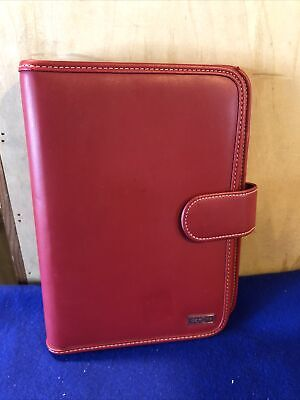 Franklin Covey Day One Classic Red Faux Leather Planner 7 Ring Binder