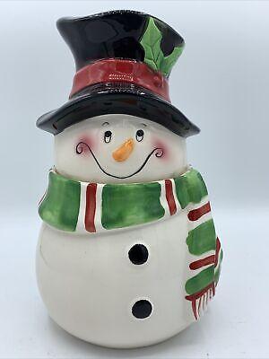 Vintage Festive Holiday Winter Snowman Cookie Jar David's Cookies Christmas