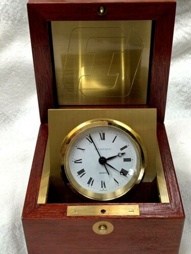 Tiffany & Co. Mahogany Brass Vintage Rare Swing Desk Clock Watch