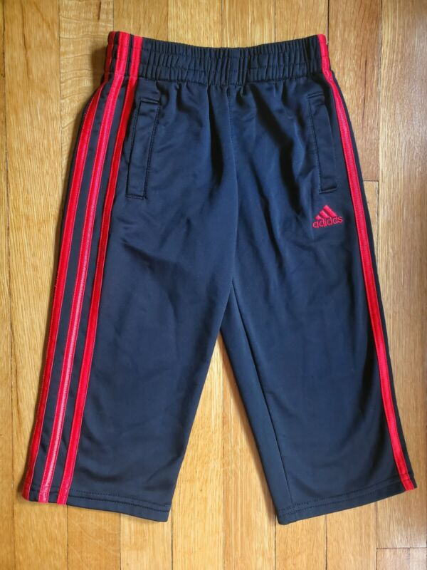 Adidas Boys Size 3T Black Sweatpants Bright Red Logo Stripes Pants With Pockets