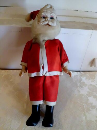 """Vintage Celluloid Santa Clause with Blue Eyes Christmas Holiday Seasonal 13"""""""