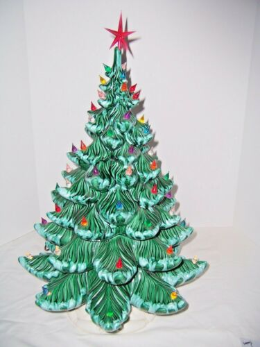 Christmas Tree Ceramic 24x17 Atlantic Mold 62+ Multi-Colored Lights Green w/Snow