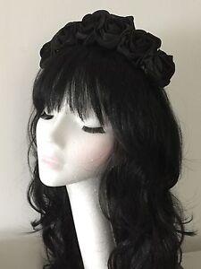 Black Rose Flower Floral Crown Headband Garland Festival Boho Vintage