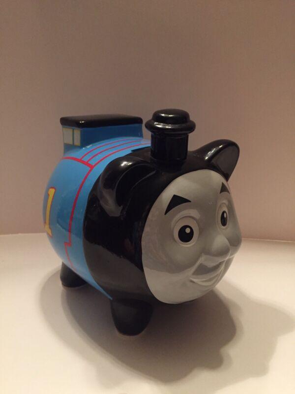 Thomas The Train Tank Engine # 1 Large Blue/Black/Gray Ceramic Coin Piggy Bank