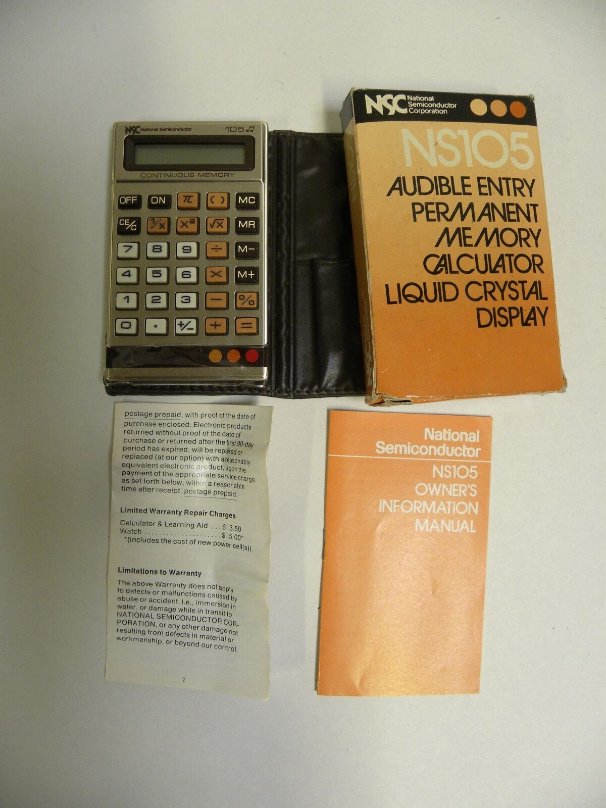 Vintage National Semi Conductor NS105 105 Audible Entry Calculator (A5)