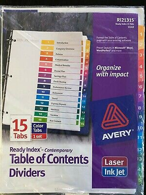 Lot Of 2 Avery 11143 Ready Index Table Of Contents Dividers 15 Tabs Each