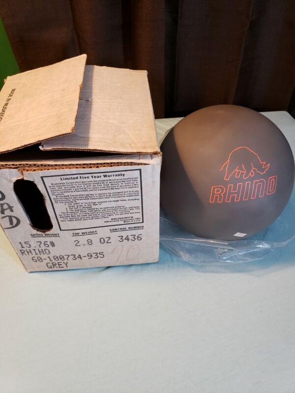 Vintage Brunswick Rhino Urethane Bowling Ball Grey 15.76 lbs (16 lbs) New w/ box