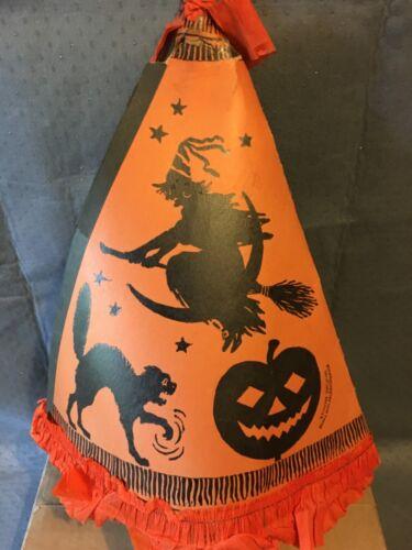 Antique Halloween Cardboard Witch Hat & Horn   MARKS BROS CO BOSTON MASS