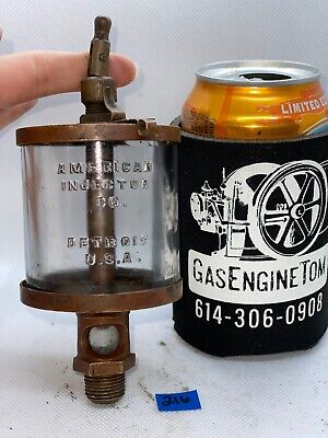 American Injector Co No 4 Brass Oiler Embossed Glass Hit Miss Gas Engine Antique