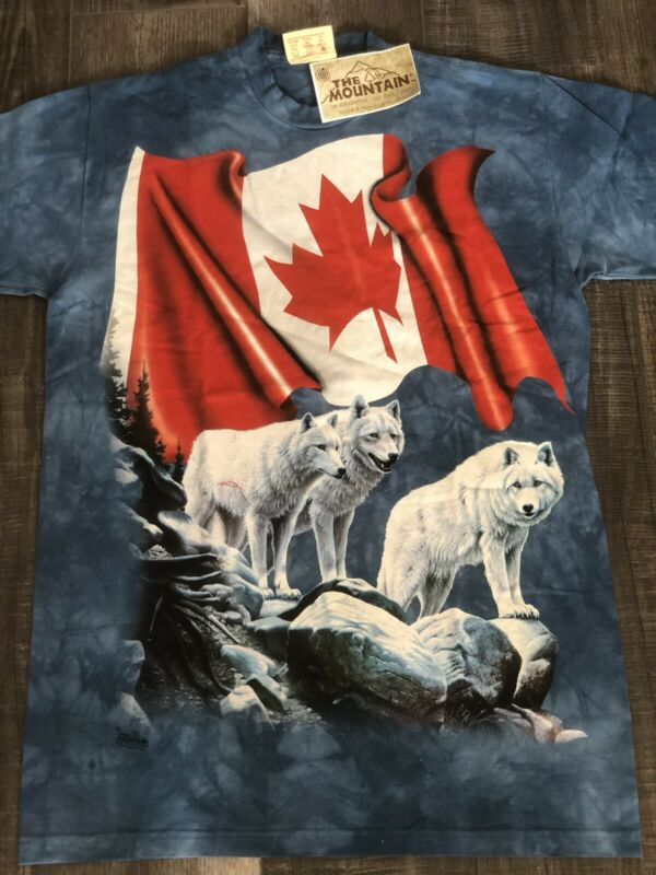 M _The Mountain USA Dyed - Tie Dye US T shirts : Made in USA Flag Canadian Wolf
