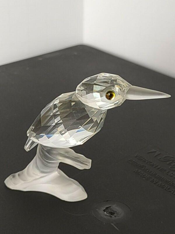 Swarovski Crystal Kingfisher Bird Figurine Green Eye on Branch