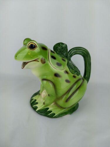 Frog On Lily Pad Creamer Pitcher Jug Creamer Ceramic W/ Handle Cracked Takahashi