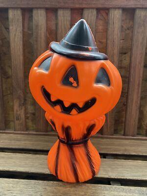 "14"" Vintage 1968 Empire Halloween Blow Mold Pumpkin Scarecrow Jack O Lantern"