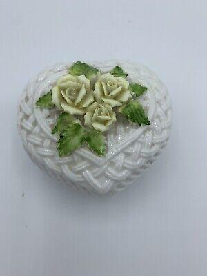 Vintage Heart Shape White Porcelain Raised Pink Roses Trinket Jewelry Box
