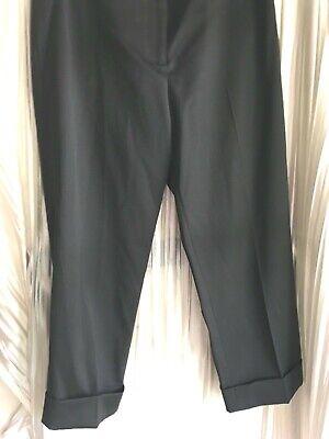 Prada 42 black cuffed cropped pants wool/poly 22 inseam front zip belt loops