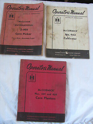 Ih Mccormick Corn Picker 2mh Planter 449 450 Cultivator 463 Manual Lot