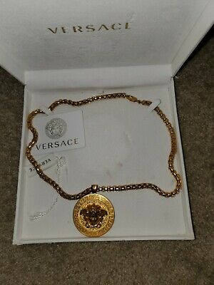 GIANNI VERSACE Necklace Pendant Gold GP Medusa 100% authentic made in Italy