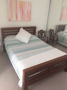 Beautiful Dark Solid Timber Queen Size Bed & Mattress Cannon Hill Brisbane South East Preview