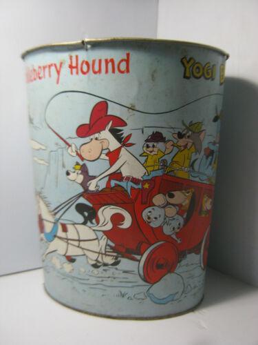 Quick Draw McGraw Huckleberry Hound Yogi Bear Metal Trash Can Vtg Hanna Barbera