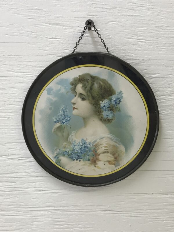 Antique SIGNED 1907 Victorian Flue Cover Tin Metal Frame Woman Chimney Fireplace