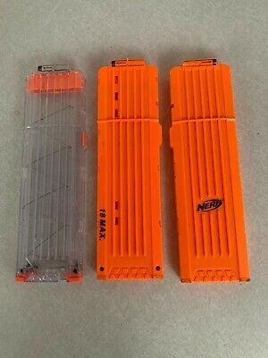 Nerf N-Strike 18 Round Dart Ammo Magazine Clip Clear - Orange Lot Of 3