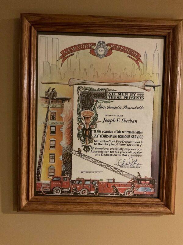Vintage Framed FDNY Retirement Certificate - Badge No. 4707