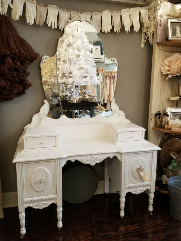 Antique Warm White Ornate Vanity With Original Mirrors