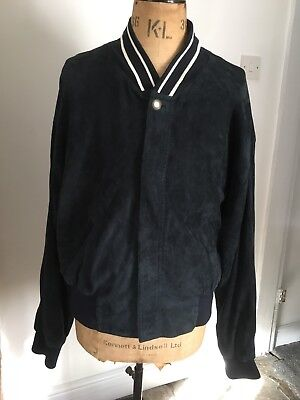 VERSUS VERSACE designer dark blue luxury soft leather jacket Harrington 40 54 M