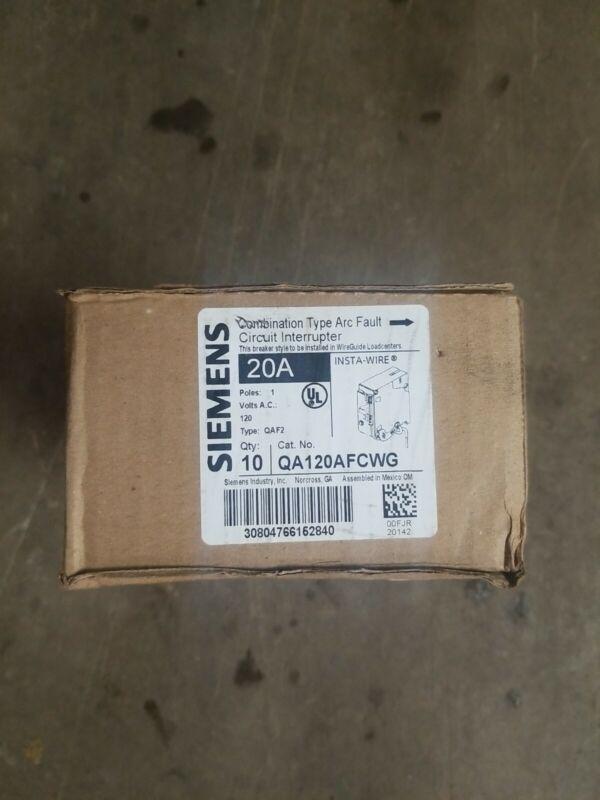 SIEMENS QA120AFCWG QA120AFC   breakers AFCI 120 20 amp 1 pole QAF2  10x