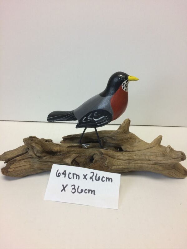 American ROBIN ? Original HAND CRAFTED Red Chest BIRD WOOD CARVING ART SCULPTURE
