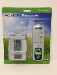 BRAND NEW AcuRite Wireless Digital Indoor/Outdoor Thermometer with Clock 00782w3