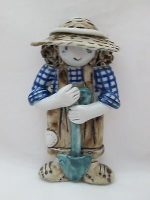 Ceramic Flatback Craft Doll - Gardener w/Shovel Blue Shirt