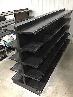 Gondola Lozier Shelving Used Retail Store Metal Fixtures Grocery Market Black