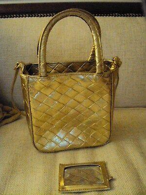 Gold Purse Handbag (shoulder strap & handles) Lattice Weave 7x8