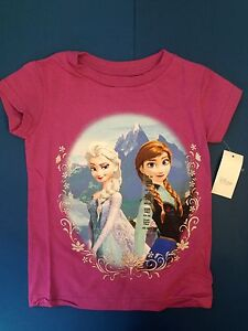 NEW GIRLS FROZEN T SHIRT ANNA ELSA NWT DISNEY PRINCESS 2 3 4 5 6 7 8 10 12 TEE