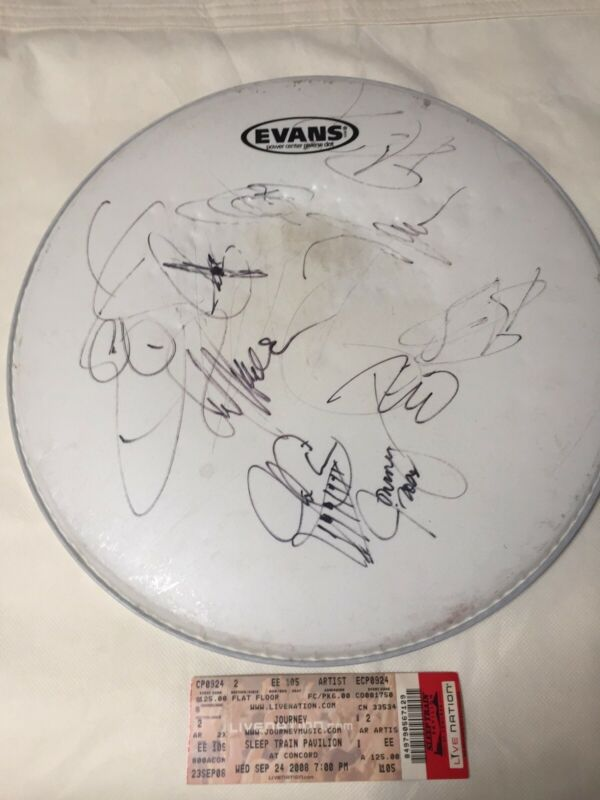 Journey, Cheap Trick, and Heart concert-used DRUM HEAD signed autographed rare!!