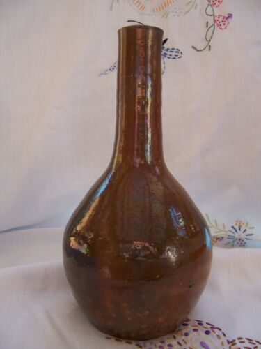 """North State Pottery Co Hand Made Sanford NC Shades of Brown Vase 11 1/2"""" Height"""