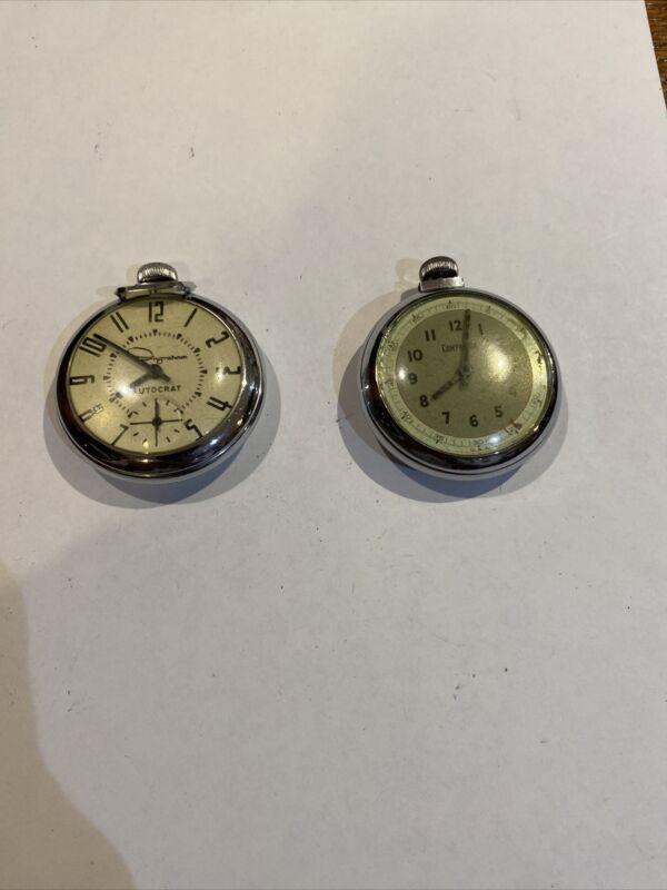 Two Vintage Pocket Watch Ingraham & Companion Men Silver Art Deco