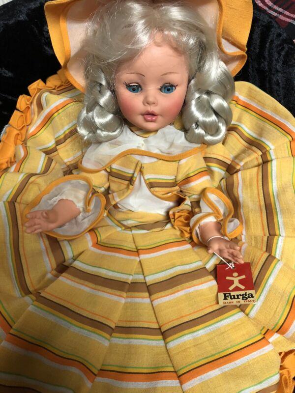 "Vintage Italy Furga Doll -orange Hoop Skirt bonnet 16""."