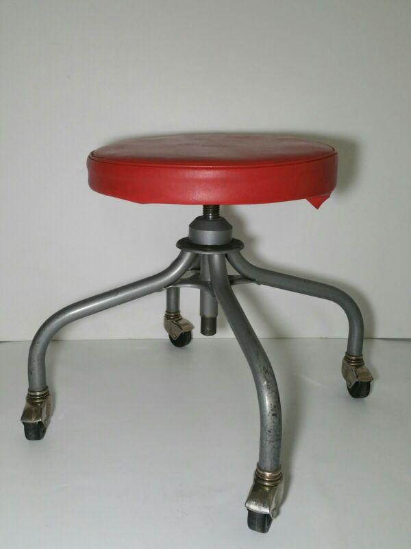 Vintage Industrial Rolling Work Stool