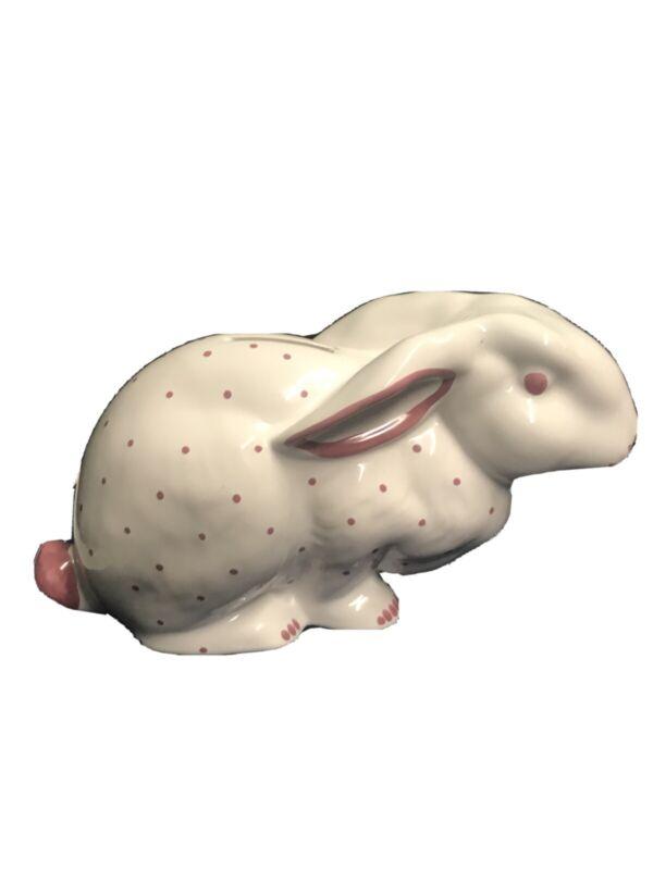 Tiffany & Co Austria Pink Polka Dot Bunny Rabbit Ceramic Piggy Bank