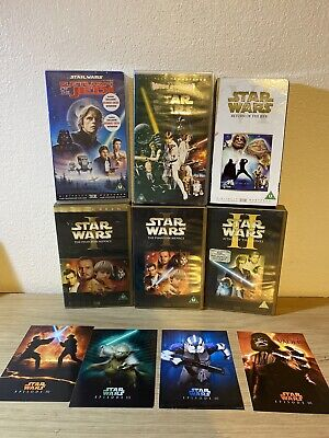 Star Wars Video Vhs Tapes Bundle X 6  With Collectible Cards