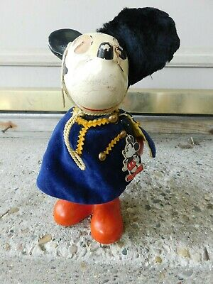 RARE 1930s KNICKERBOCKER TOY CO. COMPOSITION MICKEY MOUSE W/HANG TAG, UNIFORM